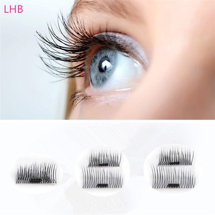 4 Pcs/ 2 Pairs 3D Magnetic False Eyelashes Natural Soft Makeup