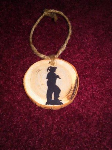 Coal Miner Rustic Wood Ornament OOAK (EC00)