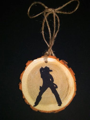 Sexy Cowgirl Rustic Wood Ornament OOAK (EC00)