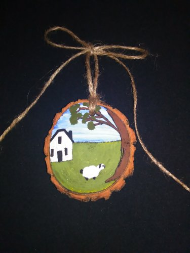 Primitive Rustic Wood Ornament OOAK (EC001)