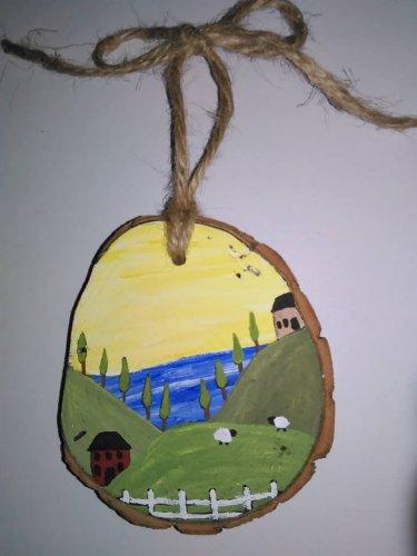 Primitive Rustic Wood Ornament OOAK (EC009)
