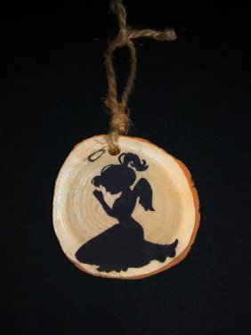 Prayer Angel Rustic Wood Ornament OOAK (ec00)