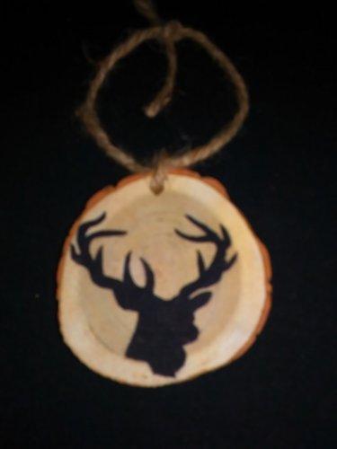 Deer Buck Rustic Wood Ornament OOAK (ec00)