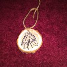Native Indian Feathers Rustic Wood Ornament OOAK (EC00)
