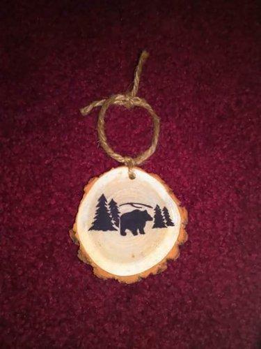 Mountain Bear Rustic Wood Ornament OOAK (ec00)