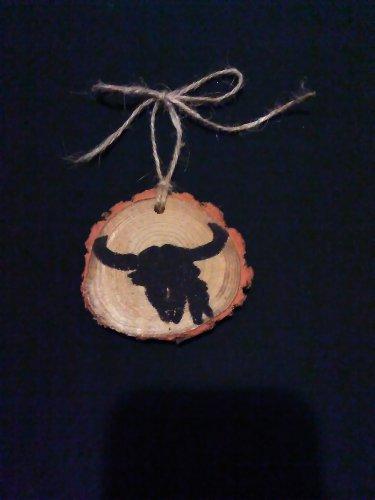 Native Indian Skull Rustic Wood Ornament OOAK (EC00)