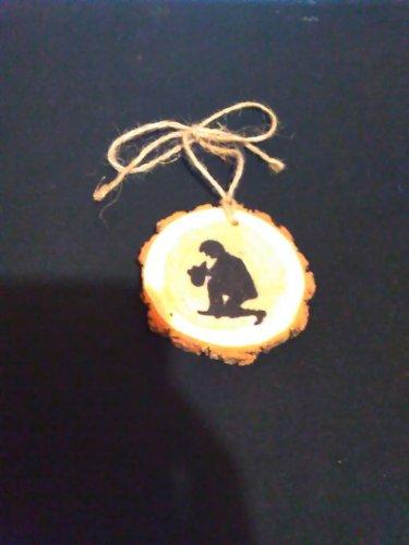 Praying Cowboy Rustic Wooden Ornament OOAK (EC00)