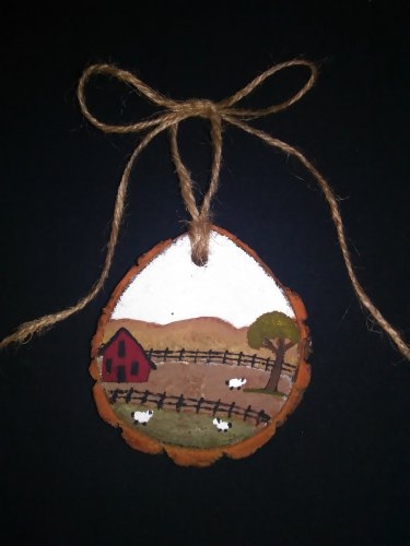 Primitive Rustic Wood Ornament OOAK (EC002)