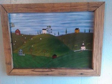 Original Primitive Rustic Painting OOAK (EC006)