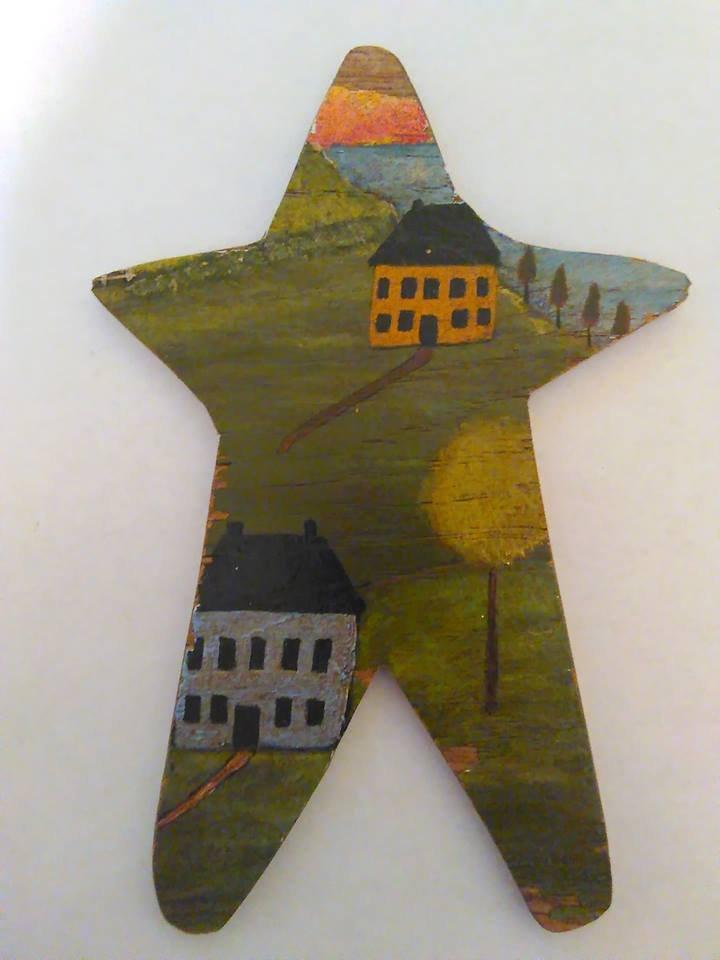Primitive Rustic Wood Star Cutout Painting OOAK (EC002)