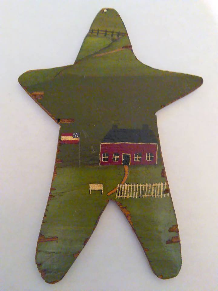 Primitive Rustic Wood Star Cutout SCHOOL Painting OOAK (EC004)