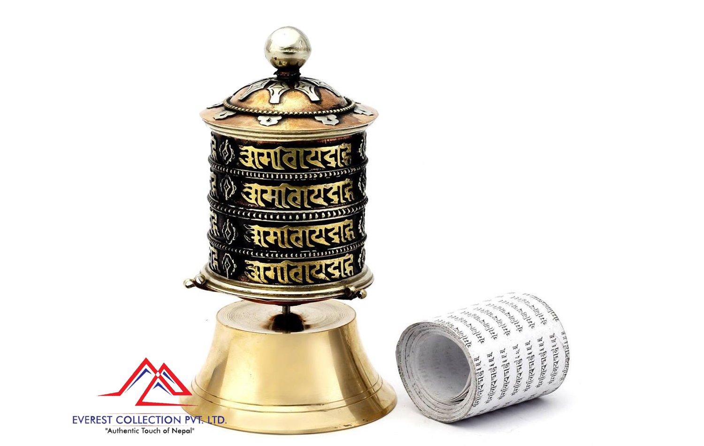 6.25 Inch Tibetan Prayer Wheel-4 line mantra prayer wheel, Om mane padme hum,dharma wheel