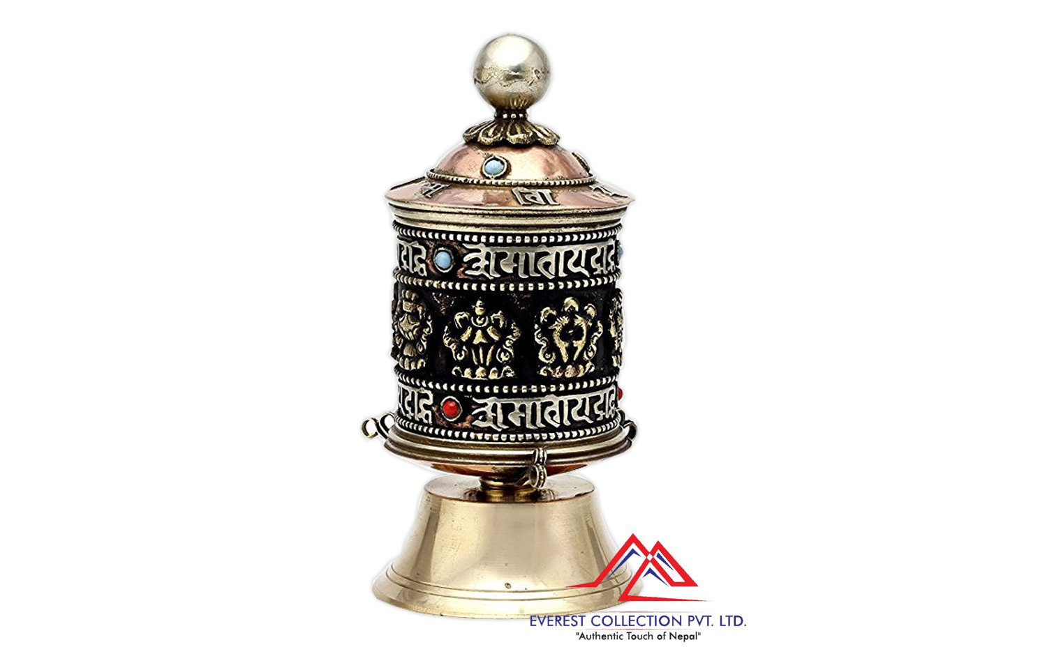 Table Top Copper Brass Tibetan Buddhist 8 Lucky Symbols Prayer Wheel,Dharma wheel