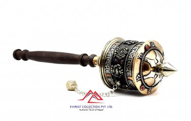 12 Inch Tibetan Buddhis Prayer Wheel 8 Lucky Symbols-prayer wheel,dharma wheel