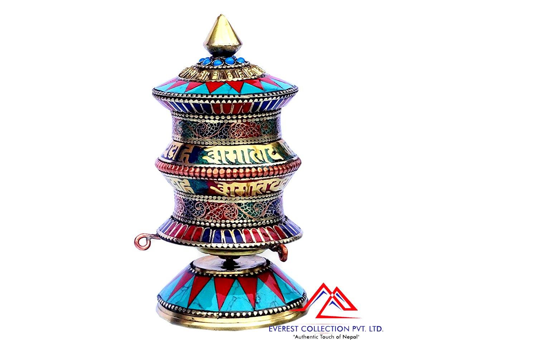 "5.5""Tall Buddhist Prayer Wheel-Turquoise Coral Tibetan Top Table Prayer Wheel"