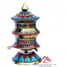 "5.5""Tall Buddhist Prayer Wheel-Turquoise Coral Tibetan Top Table Prayer Wheel"