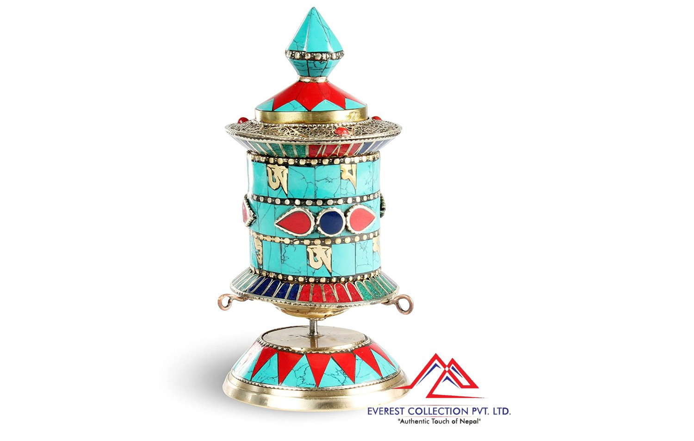 Prayer Wheel -Hand Made in Nepal -6 inch Stone setting,dharma wheel,meditation