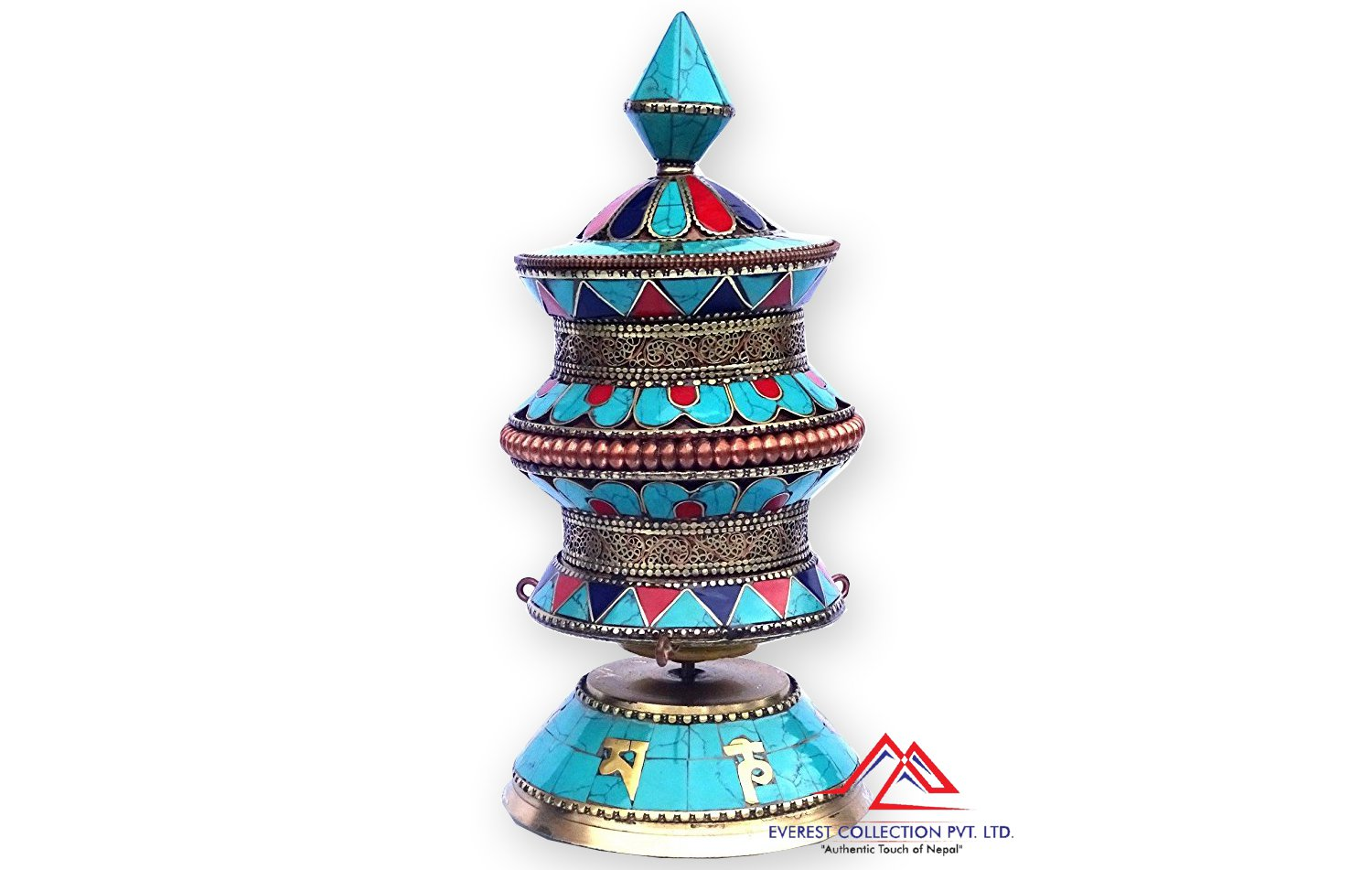 "9"" Artistic Tibetan Buddhist Stone Setting Table Top Prayer Wheel - Hancrafted in Nepal"