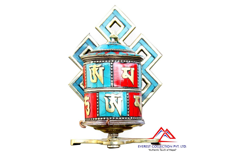 6 Inches Tibetan Table Prayer Wheel-handmade in Nepal-Dharma wheel