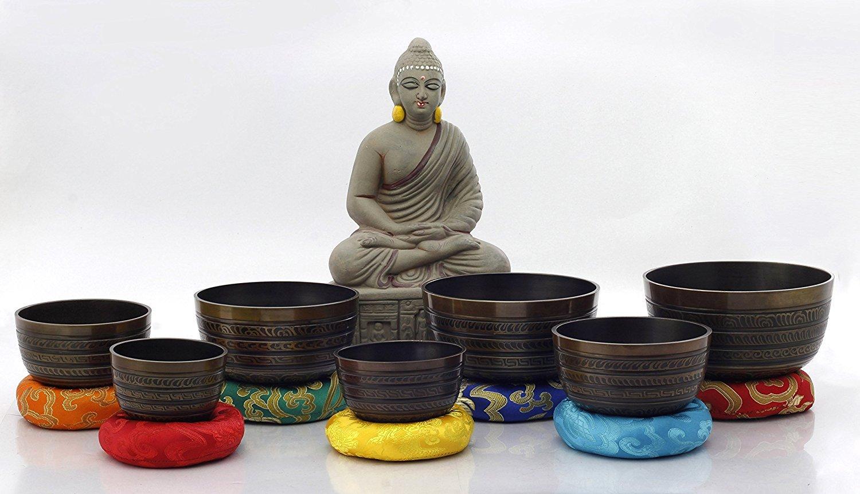 Sets 7 Sets of Meditation Bowls-Chakra Healing Tibetan Singing Bowl From Nepal (Brown colored)