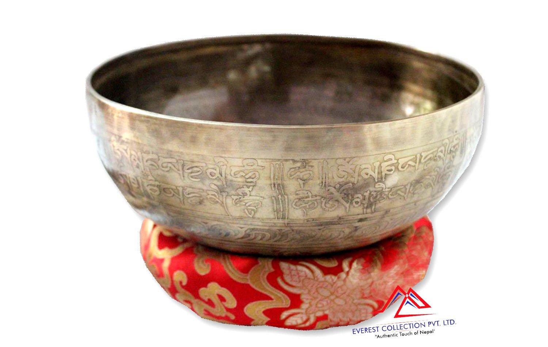 "10"" Mantra carved singing bowl-Meditation bowl-yoga bowl,singing bowl from Nepal"