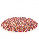 150 cm Diameter multi colored felt ball rug- Handmade in Nepal
