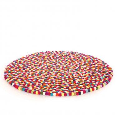 150 cm Diameter multi colored felt ball rug- Handmade in Nepal