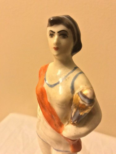 Antique Armenian porcelain figurine of swimer girl