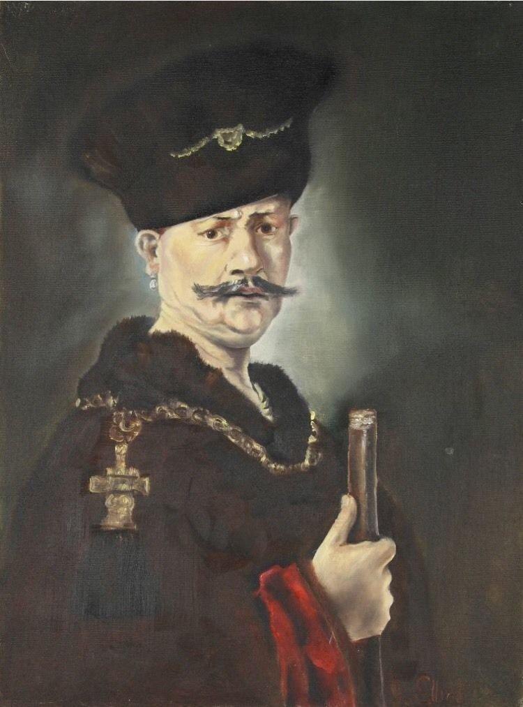 After (Rembrandt Harmenszoon van Rijn 1606-1669) Oil Painting Of Nobleman