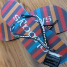 Size 9/10 Bright Stripe Rubber Flip Flops Sandals by Always of Brazil, Swarovski Crystal Accents