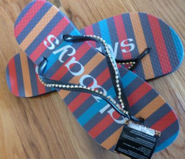 Size 9/10 Bright Stripe Rubber Flip Flops Sandals by Always of Brazil, Swarovski Crystal Accents