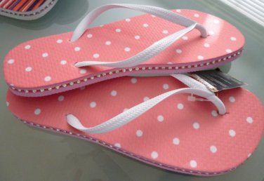 Size 9/10 Pink Polka Dot Rubber Flip Flops Sandals by Always of Brazil, Swarovski Crystal Accents