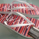 Size 7/8 Red Stripe Rubber Flip Flops Sandals by Always of Brazil, Swarovski Crystal Accents
