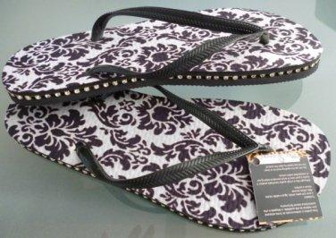 Size 11 Black/White Rubber Flip Flops Sandals by Always of Brazil, Swarovski Crystal Accents