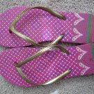 Size 9/10 Colorful Flip Flop Sandals with Heart and Dot Design - Hot Pink & Gold
