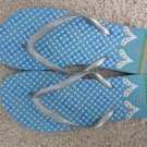 Size 9/10 Colorful Flip Flop Sandals with Heart and Dot Design - Aqua & Silver