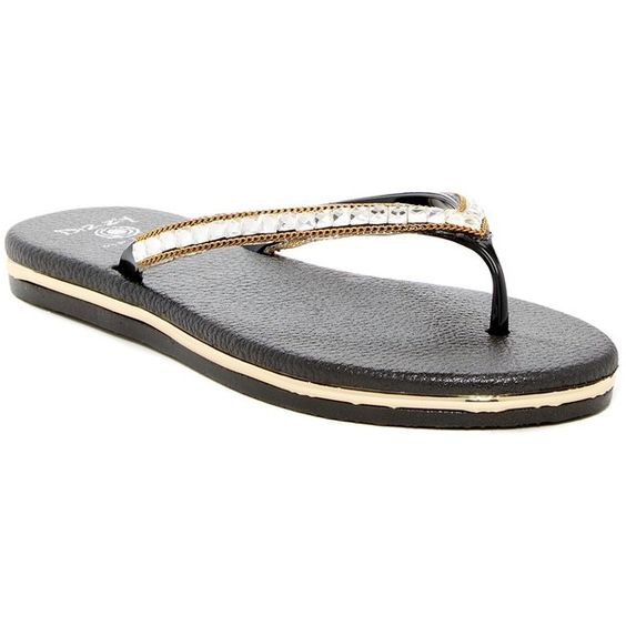 Size 7 DIZZY Black Specs with Sparkling Straps & Gold Trim Comfort Flip Flops Sandal MSRP $40