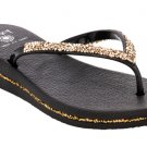 Sz 8 DIZZY Black Beamer Wedge with Gold & Silver Nugget Straps & Trim Comfort Flip Flops MSRP $40