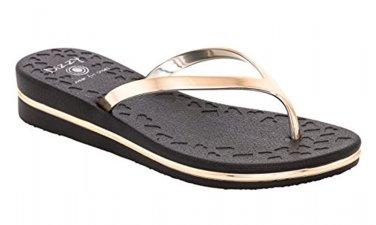 Size 10 DIZZY Black Prints with Gold Straps & Trim Comfort Wedge Flip Flops Sandal MSRP $40