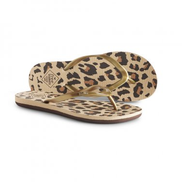 NEW Sz 7 Gold Freewaters Jess Animal Print Flip Flops Sandals with Positive Social Impact