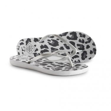 NEW Sz 7 Silver Freewaters Jess Animal Print Flip Flops Sandals with Positive Social Impact