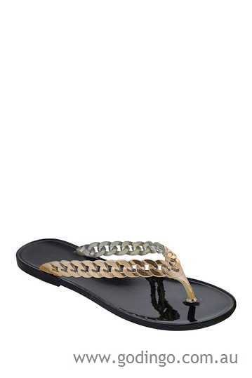 Size 9 DIZZY Black Rocket with Gold Straps Jelly Style Flip Flops Sandal MSRP $26