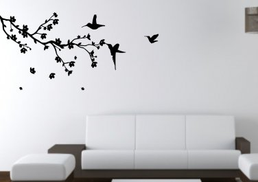 Birds on branch with falling flowers Large 45x23(inch)