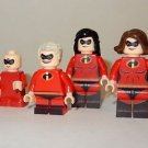 x4 **NEW** LEGO Custom Printed INCREDIBLES FAMILY Minifigure Lot