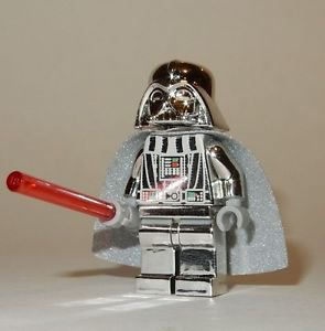 **NEW** LEGO Custom Printed CHROME DARTH VADER Silver Star Wars Sith Minifigure