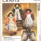 McCall's Sewing Pattern 7230  Heirloom Dolls with Outfits Uncut and Unused