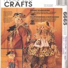 McCall's Sewing Pattern 6665 Boy and Girl Scarecrow Fabric Dolls with Outfits Uncut and Unused