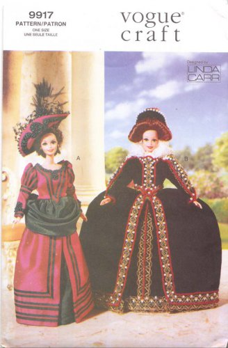 Vogue Sewing Pattern 9917 Barbie Doll Historical Outfits Uncut and Unused