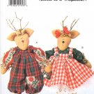 Butterick Sewing Pattern 4121 Mr. and Mrs. Reindeer Fabric Dolls and Outfits Uncut and Unused