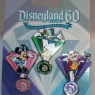 Disneyland 60th Anniversary Diamond Celebration Board Game 3-Token Pin Set L.E. 3000